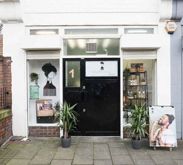 Front of Hairitage Shop in North London